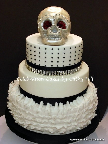 skull white wedding cake