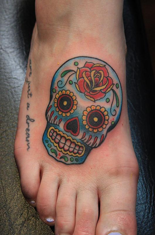sugar skull feet tattoo