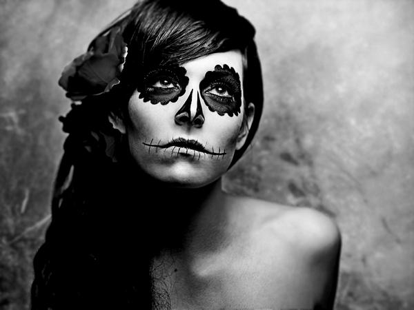 sugar skull wallpaper black and white