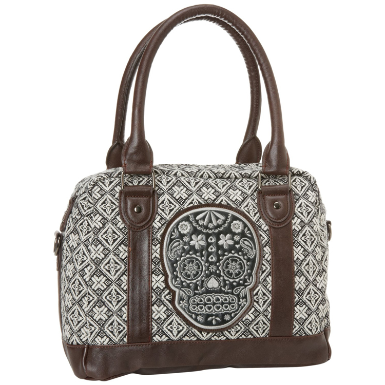 tweed sugar skull handbag