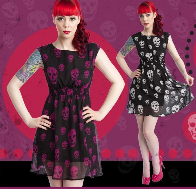 Chiffon skull dress