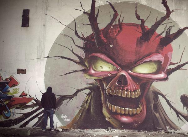 Fat Heat Skull street art