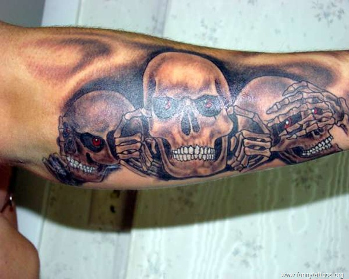 Hear see speak no evil skulls tatto