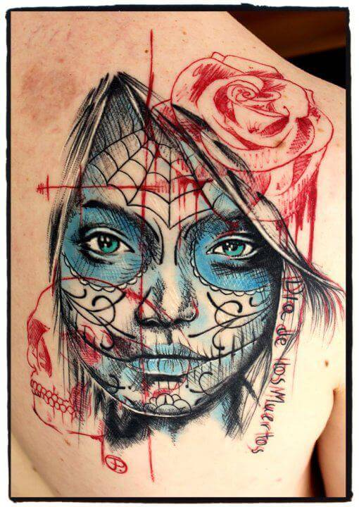 Jacob Pedersen sugar skull tattoo