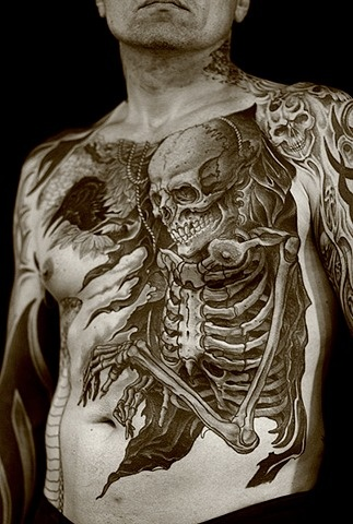 Large skeleton tattoo