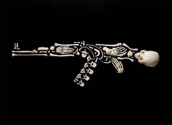 Machine Gun Bone sculpture Francois Robert
