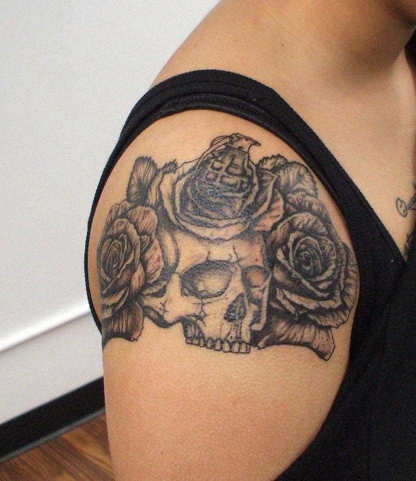 Military skull arm tattoo