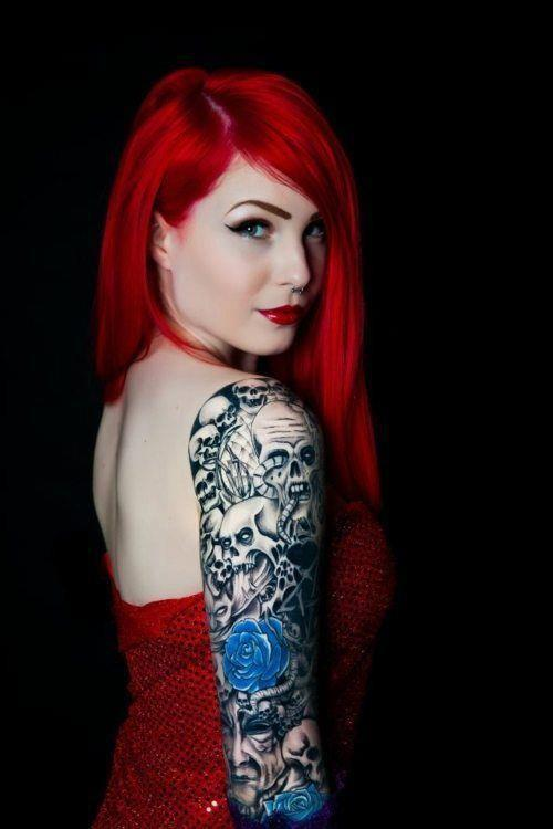 Sexy red girl skull tattoo