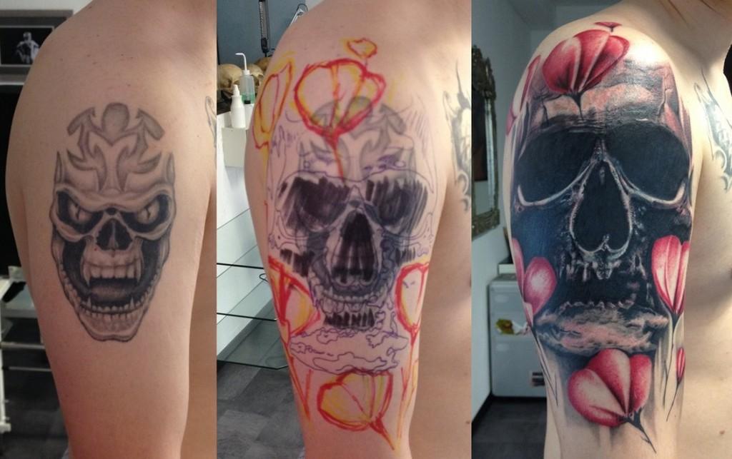 Skull cover up tattoos 1