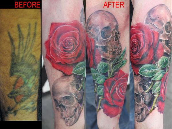 Skull cover up tattoos 2