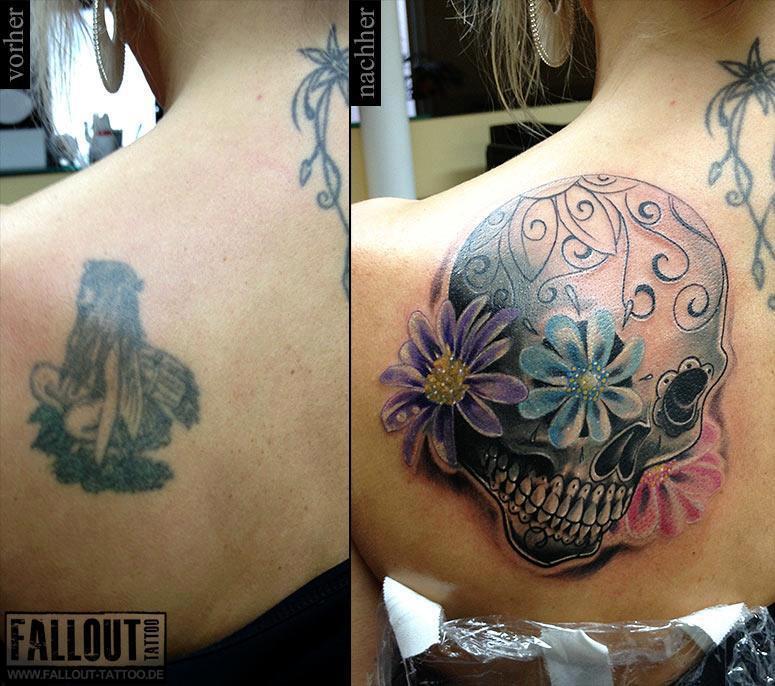 Skull cover up tattoos