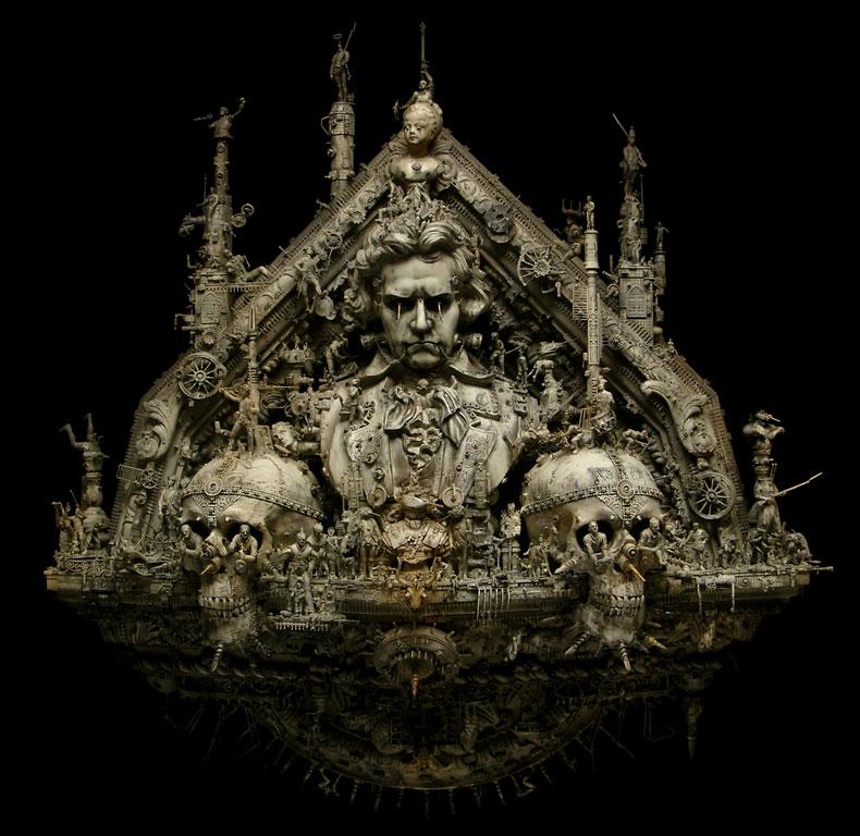 Skull sculptures by Kris Kuksi