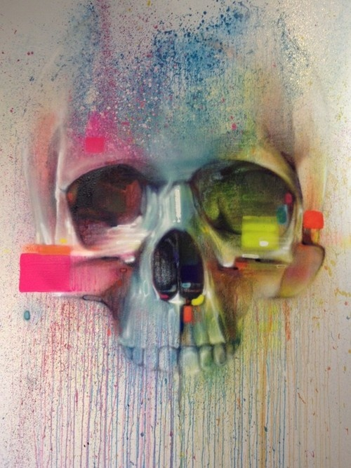 Skull street art by Steve Locatelli