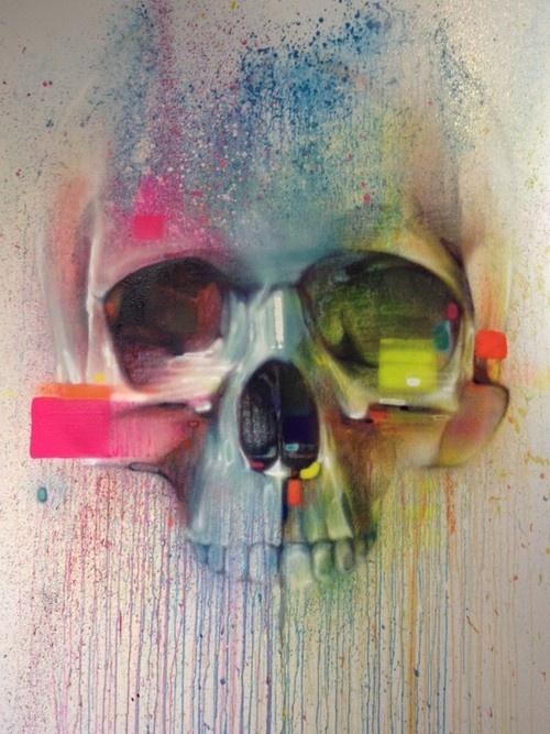 Skull street art by Steve Locatelli