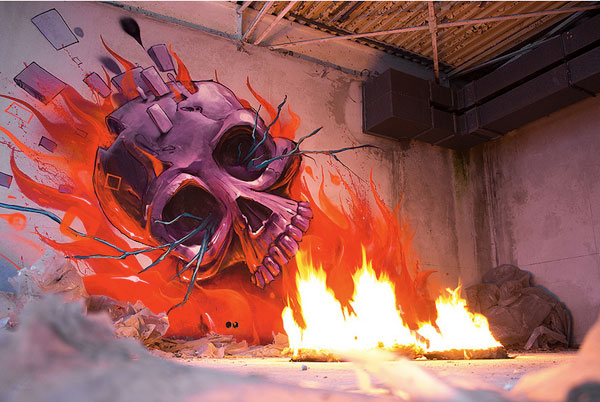 Skull street art graffiti
