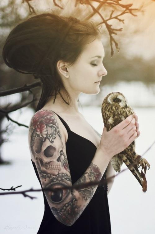 Skull tattoo on arm