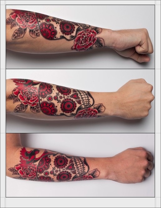Sugar skull red tattoo