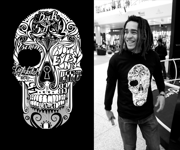 T Shirt With Skull Design   Sugar Skull T Shirt By Mr Four Fingers