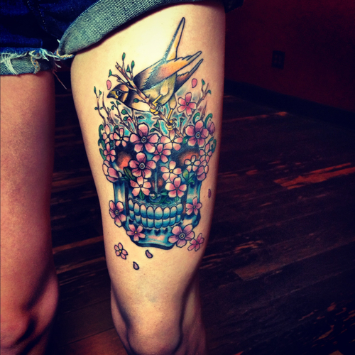 Sugar skull tattoo large