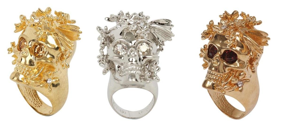 alexander mcqueen 2013 skull rings