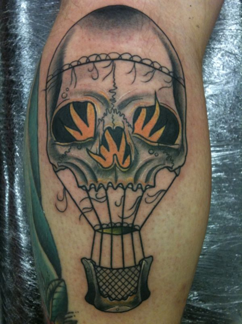 balloon skull tattoo