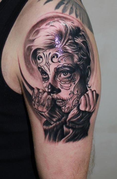 candy skull face tattoo