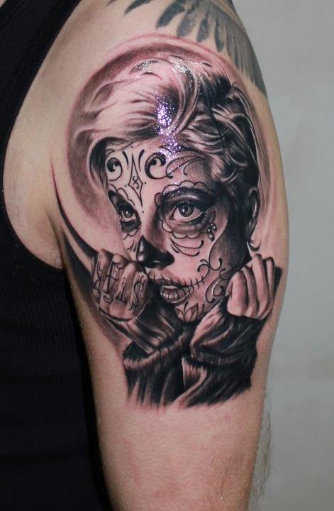 candy skull face tattoo