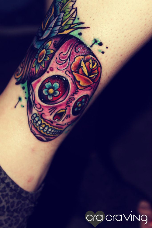 candy skull tattoo 2