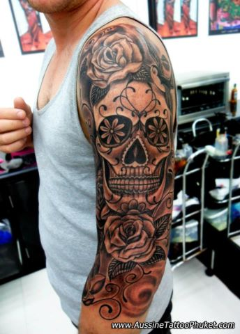candy skull tattoo sleeve