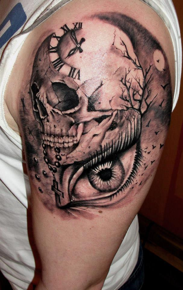 clock skull tattoo