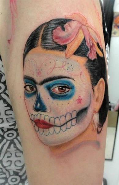 frida khalo sugar skull tattoo