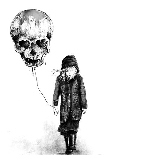 girl with skull balloon