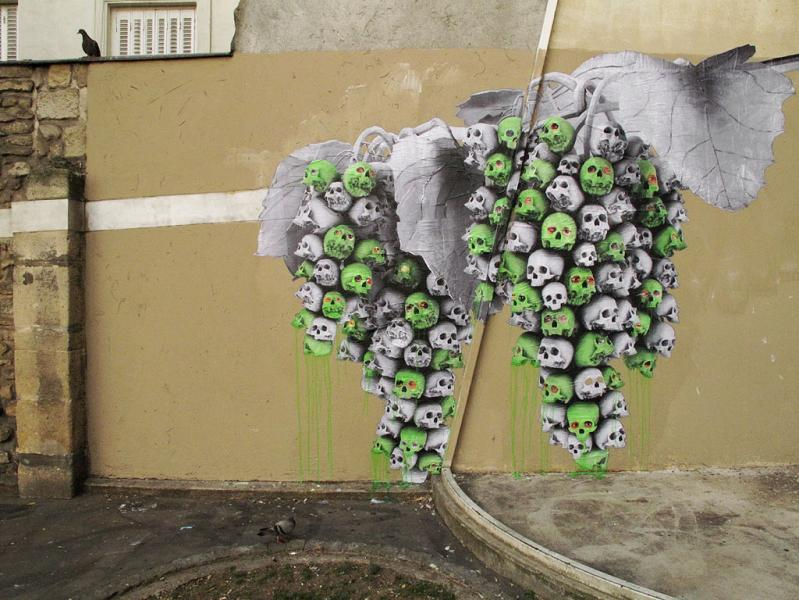 grape skulls street art