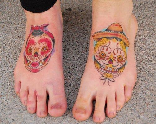 leg skull tattoos
