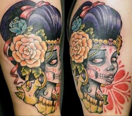 mexican candy skull tattoos 2