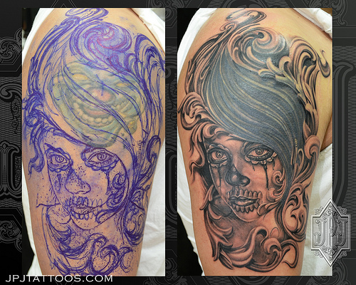 mexican skull cover up