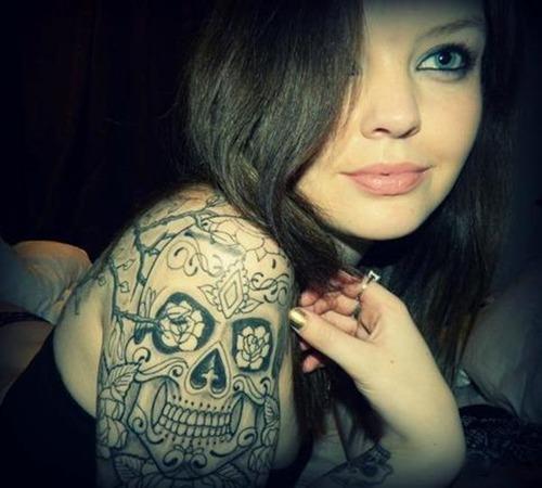 mexican skull tattoo arm