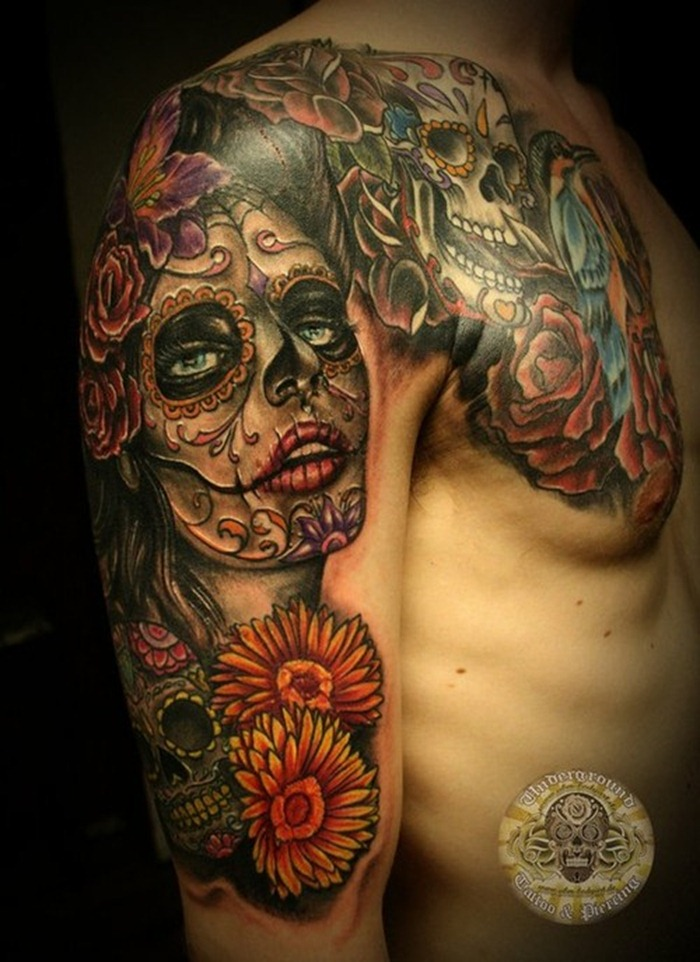 mexican sugar skull arm tattoos