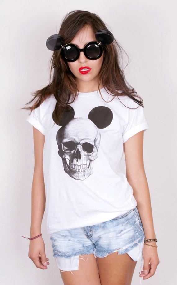 mickey mouse skull tshirt