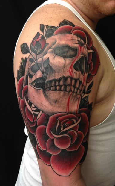 skull and roses color arm tattoo jon von glahn