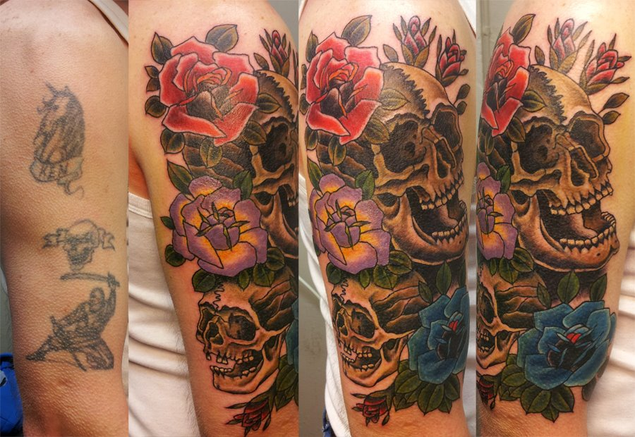 skull and roses coverup