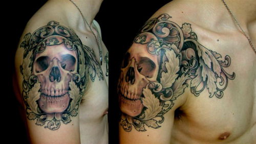 skull arm tattoo 1
