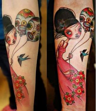 skull balloons tattoo designs 1