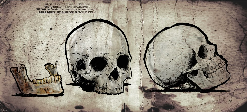 Skull drawing old map style
