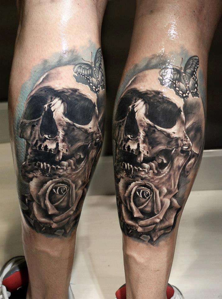 skull leg tattoos 1