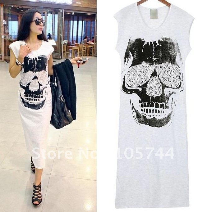 skull sleeveless vest dress