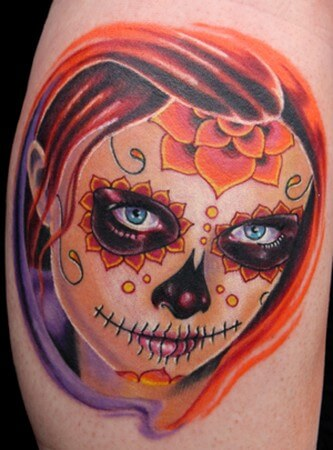 sugar skull leg tattoo