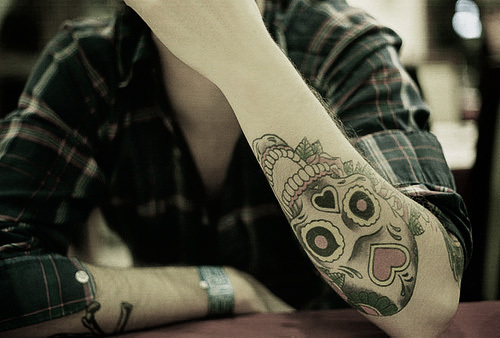 sugar skull tattoo forearm