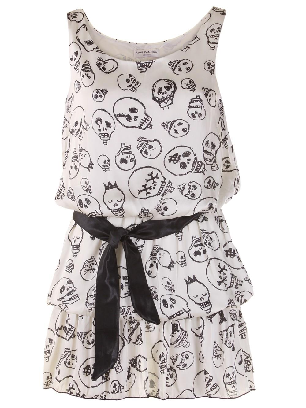 white skulls dress