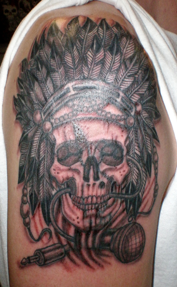 indian skull tattoo coverup